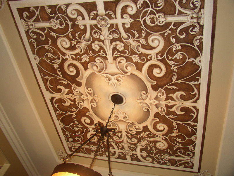 This ceiling mural was done using an old world theme in a formal dining  room for a client in Norco, California
